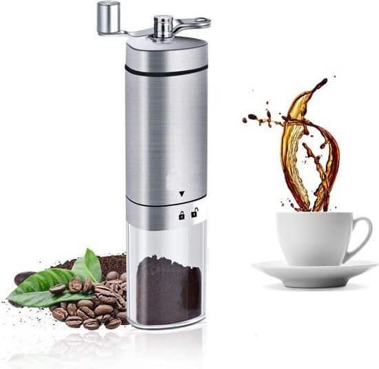 Handmatige keramische koffiemolen bonenmaler met verstelbare standen - Handkoffiemolen van sterk RVS - Koffiemaler met schijven - VDN