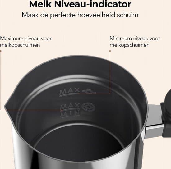 KitchenBrothers Elektrische Melkopschuimer RVS - Inductie - Dubbelwandig - 240 ml - Zwart