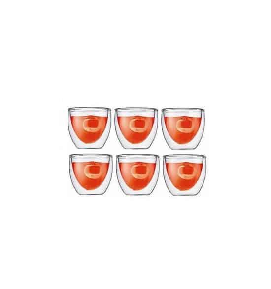Bodum Pavina Dubbelwandig Glas - 0.08 l - 6 stuks